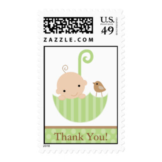 Green Baby in Umbrella Postage Stamp