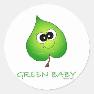 Green Baby Leaf Classic Round Sticker