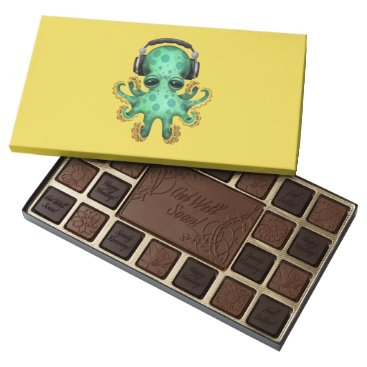 Toddler & Baby themed Green Baby Octopus Dj Wearing Headphones 45 Piece Box Of Chocolates