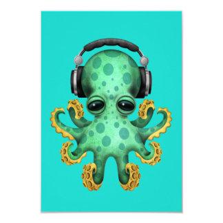 Green Baby Octopus Dj Wearing Headphones Card