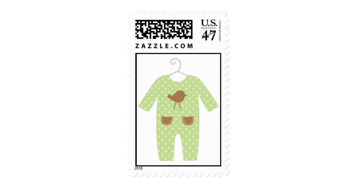 Baby Shower Stamps 66 Cents ~ Green baby outfit shower stamps zazzle
