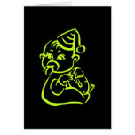 Green baby outline greeting cards