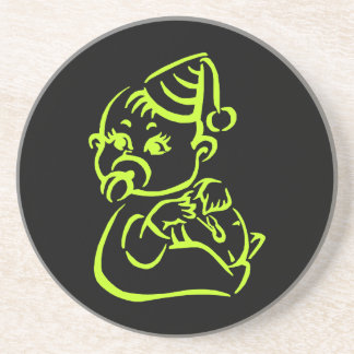 Green baby outline sandstone coaster