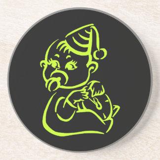 Green baby outline sandstone coaster
