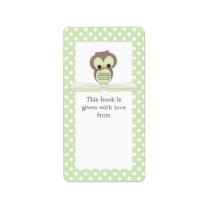 Green Baby Owl on Book Gift Bookplate Label