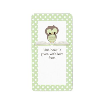 Toddler & Baby themed Green Baby Owl on Book Gift Bookplate Label