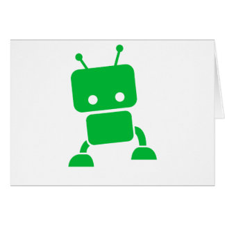 Green Baby Robot Greeting Cards