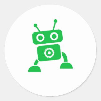 Green Baby Robot Round Stickers
