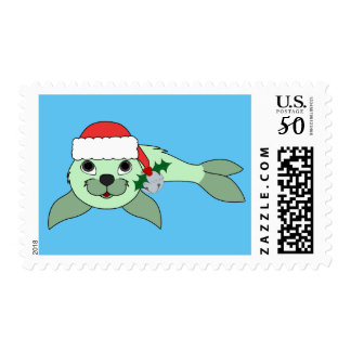Green Baby Seal with Santa Hat & Silver Bell Postage