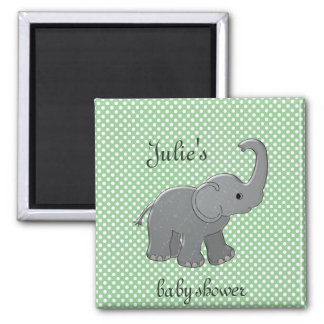 green baby shower elephant 2 inch square magnet