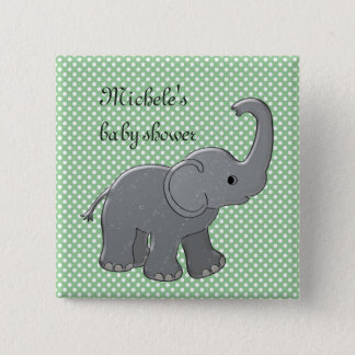 green baby shower elephant button