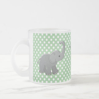 green baby shower elephant frosted glass coffee mug