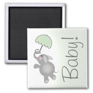 Green Baby Shower Favor Magnet - Elephant