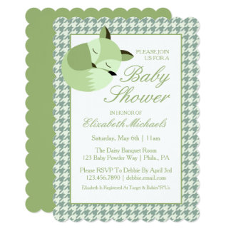 Green Baby Shower Fox Card