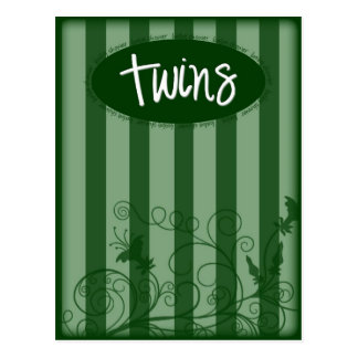 Green Baby Shower Invitation for TWINS Postcard