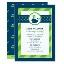 Green Baby Shower Invitation   Navy Nautical Whale