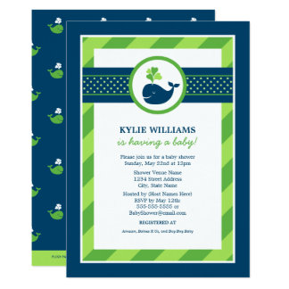 Green Baby Shower Invitation | Navy Nautical Whale