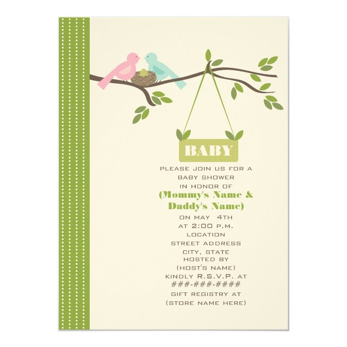 Green Baby Shower Mommy & Daddy Birds & Nest Card