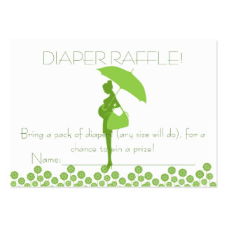Green Baby Shower Silhouette Diaper Raffle Tickets Large Business Cards (Pack Of 100)