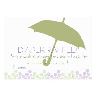 Green Baby Shower Umbrella Diaper Raffle Tickets Large Business Cards (Pack Of 100)