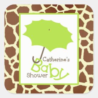 Green Baby Shower Umbrella & Giraffe Print Square Sticker