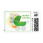 Green Baby Stroller Postage Stamps