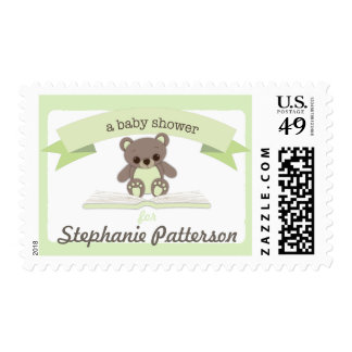 Green Baby Teddy Bear Baby Shower Postage