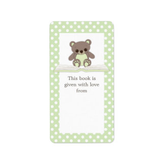 Green Baby Teddy Bear on Book Gift Bookplate Label