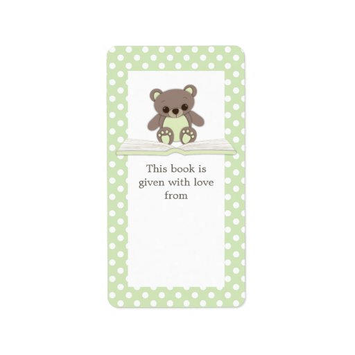 Green Baby Gifts Uk : Green baby teddy bear on book gift bookplate label zazzle