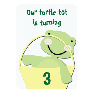 Green Baby Turtle in a Basket Birthday Card