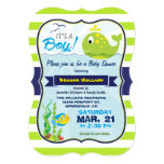 "Green Baby Whale, Boy Baby Shower Invitation 5"" X 7"" Invitation Card"