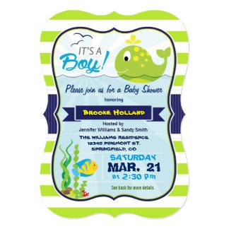 Green Baby Whale, Boy Baby Shower Invitation