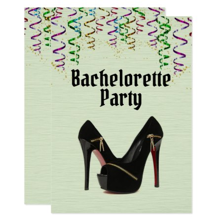 Green Bachelorette Party Invitation with RSVP Info