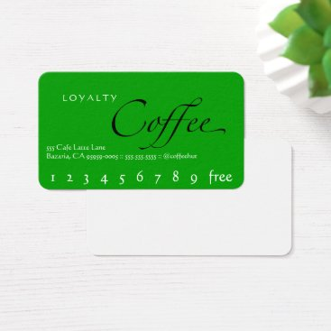 coffeepunch Green Background Loyalty Coffee Punchcard Business Card