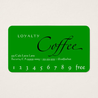 Green Background Loyalty Coffee Punchcard Business Card