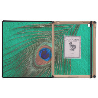 Green Background Peacock Feather DODO iPad Case