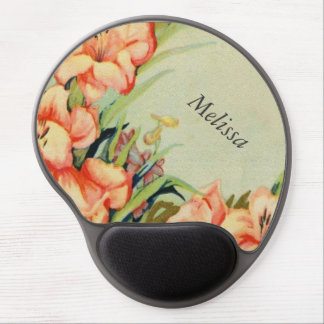 Green Background Pink Flowers Gel Mouse Pad