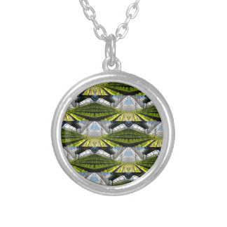 Green background silver plated necklace