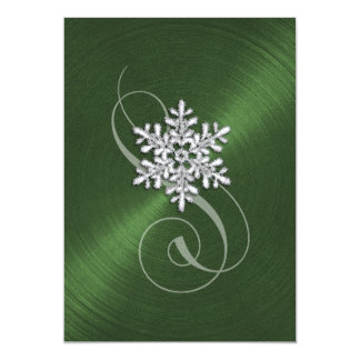 Green Background Snowflake with Swash Card