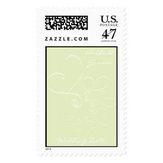 Green Background Wedding Hearts Postage Stamp