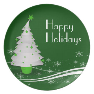 Green Background White Christmas Tree Plate