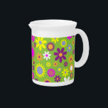 """Green background with colorful blossoms pitcher<br><div class=""""desc"""">Green background with multicolored flower blossoms.</div>"""