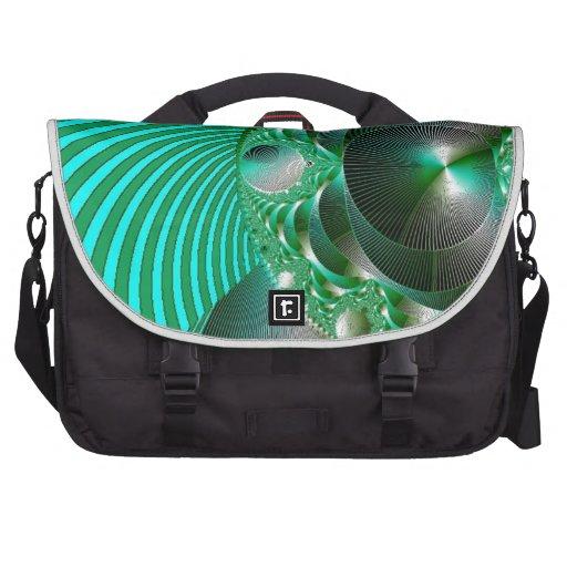 GREEN BALL ABSTRACT MANDELBOT LAPTOP COMPUTER BAG