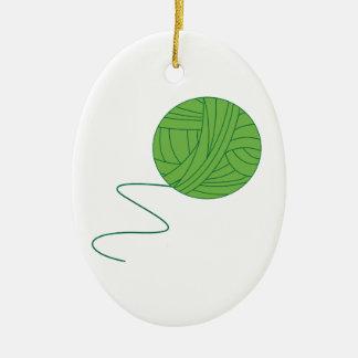 Green Ball of Yarn Ceramic Ornament