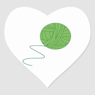Green Ball of Yarn Heart Sticker