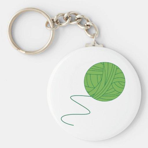 Green Ball of Yarn Keychains