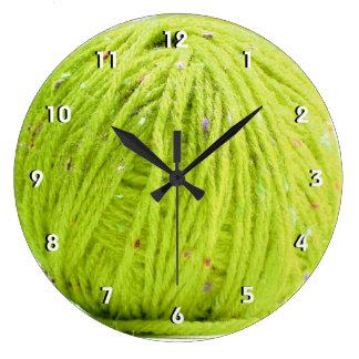 Green ball of yarn - knitting numbered wall clock