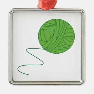 Green Ball of Yarn Metal Ornament