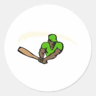 Green ball player classic round sticker