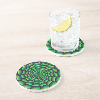 Green Ball Spiral Tunnel Drink Coaster